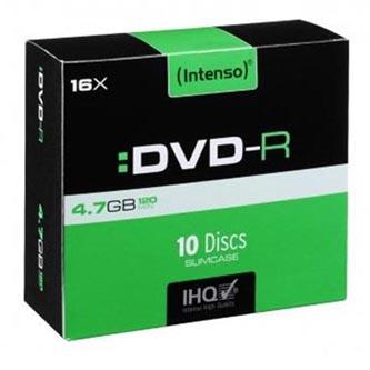 Intenso DVD-R, 4101652, 10-pack, 4.7GB, 16x, 12cm, Standard, slim case, bez možnosti potisku, pro archivaci dat