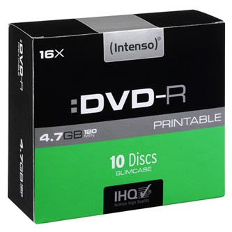 Intenso DVD-R, 4801652, 10-pack, 4.7GB, 16x, 12cm, Standard, slim case, printable, pro archivaci dat