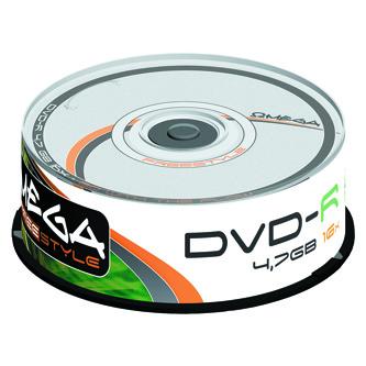 Omega Freestyle DVD-R, OMDF1625-, 25-pack, 4.7GB, 16x, 12cm, Standard, cake box, bez možnosti potisku, pro archivaci dat
