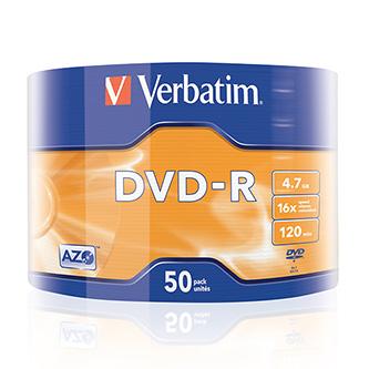 Verbatim DVD-R, 43788, 50-pack, 4.7GB, 16x, 12cm, Matt Silver, wrap, Azo+, pro archivaci dat