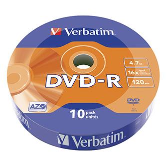 Verbatim DVD-R, 43729, DataLife, 10-pack, 4.7GB, 16x, 12cm, Matt Silver, wrap, Azo+, pro archivaci dat