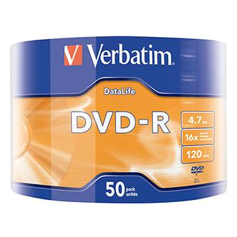 Verbatim DVD-R, 43791, DataLife, 50-pack, 4.7GB, 16x, 12cm, Matt Silver, wrap, pro archivaci dat