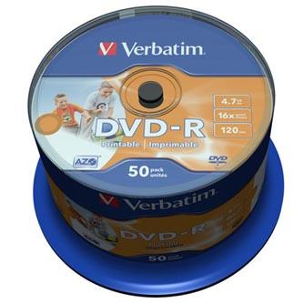 Verbatim DVD-R, 43533, DataLife PLUS, 50-pack, 4.7GB, 16x, 12cm, General, Advanced Azo+, cake box, Wide Printable-No ID Brand