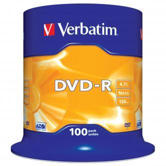 Verbatim DVD-R, 43549, DataLife PLUS, 100-pack, 4.7GB, 16x, 12cm, General, Advanced Azo+, cake box, Scratch Resistant, bez možnost