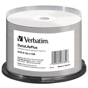 Verbatim DVD-R, 43782, DataLife PLUS, 50-pack, 4.7GB, 16x, 12cm, Professional, cake box, Wide Silver Thermal Printable, pro archiv