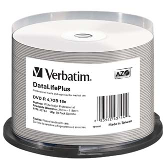Verbatim DVD-R, 43744, DataLife PLUS, 50-pack, 4.7GB, 16X, 12cm, General, Wide Printable Surface Non-ID, cake box, Printable, pro