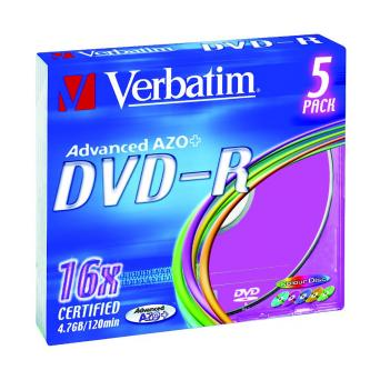 Verbatim DVD-R, 43557, DataLife PLUS, 5-pack, 4.7GB, 16x, 12cm, General, Advanced Azo+, slim box, Colour, bez možnosti potisku, pr