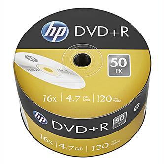 HP DVD+R, DRE00070-3, 50-pack, 4.7GB, 16x, 12cm, bulk, bez možnosti potisku, pro achivaci dat