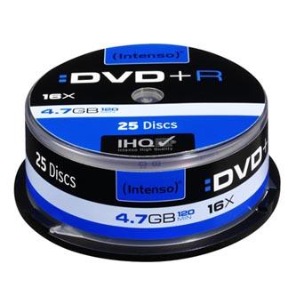 Intenso DVD+R, 4111154, 25-pack, 4.7GB, 16x, 12cm, Standard, cake box, bez možnosti potisku, pro archivaci dat