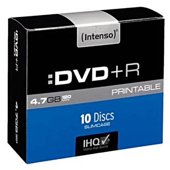 Intenso DVD+R, 4811652, 10-pack, 4.7GB, 16x, 12cm, Standard, slim case, printable, pro archivaci dat