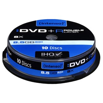 Intenso DVD+R, 4311142, 10-pack, 8,5GB, 8, 12cm, Standard, cake box, pro archivaci dat