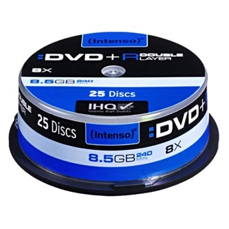 Intenso DVD+R, 4311144, 25-pack, 8,5GB, 8, 12cm, Standard, cake box, pro archivaci dat
