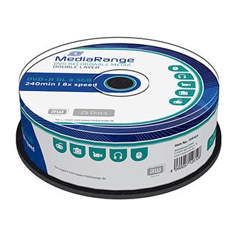 Mediarange DVD+R, MR469, 25-pack, 8.5GB, 8x, 12cm, Double Layer, cake box, bez možnosti potisku, pro archivaci dat