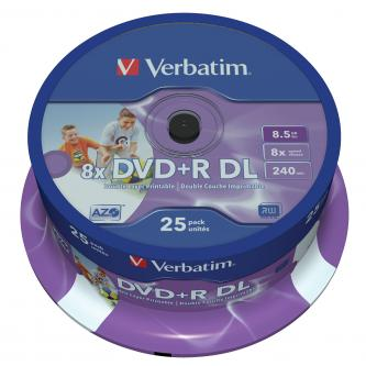Verbatim DVD+R, 43667, DataLife PLUS, 25-pack, 8.5GB, 8x, 12cm, General, Double Layer, cake box, Wide Printable, pro archivaci dat