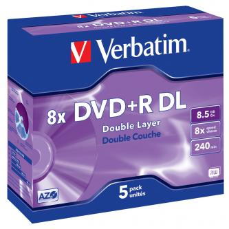 Verbatim DVD+R, 43541, DataLife PLUS, 5-pack, 8.5GB, 8x, 12cm, General, Double Layer, jewel box, Scratch Resistant, bez možnosti p