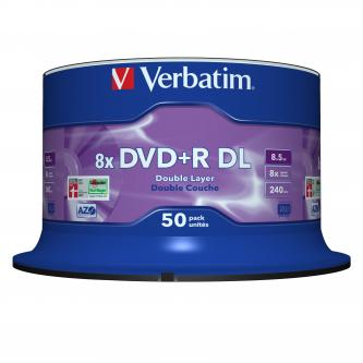 Verbatim DVD+R, 43758, Double Layer, 50-pack, 8.5GB, 8x, 12cm, General, Matt Silver, cake box, pro archivaci dat