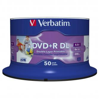 Verbatim DVD+R, 43703, Double Layer, 50-pack, 8.5GB, 8X, 12cm, General, Wide Inkjet Printable, cake box, Printable, pro archivaci