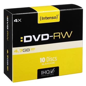Intenso DVD-RW, 4201632, 10-pack, 4.7GB, 4x, 12cm, Standard, slim case, rewritable, pro archivaci dat