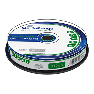 Mediarange DVD-RW, MR450, 10-pack, 4.7GB, 4x, 12cm, cake box, bez možnosti potisku, pro archivaci dat