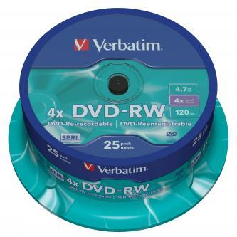 Verbatim DVD-RW, 43639, DataLife PLUS, 25-pack, 4.7GB, 4x, 12cm, General, Serl, cake box, Scratch Resistant, bez možnosti potisku,