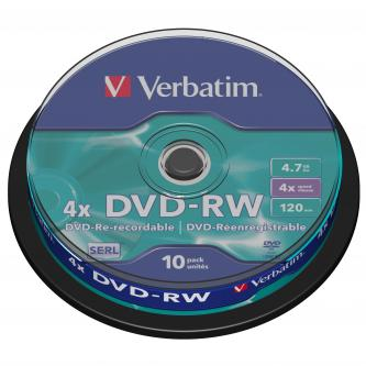 Verbatim DVD-RW, 43552, DataLife PLUS, 10-pack, 4.7GB, 4x, 12cm, General, Serl, cake box, Scratch Resistant, bez možnosti potisku,