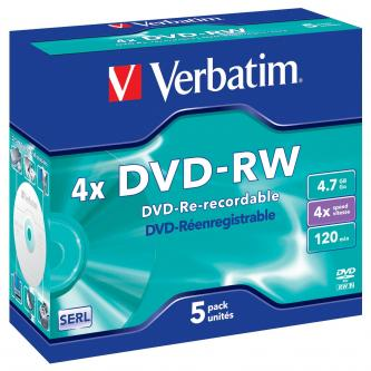 Verbatim DVD-RW, 43285, DataLife PLUS, 5-pack, 4.7GB, 4x, 12cm, General, Serl, jewel box, Scratch Resistant, bez možnosti potisku,
