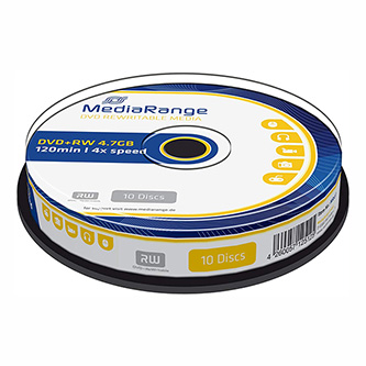 Mediarange DVD+RW, MR451, 10-pack, 4.7GB, 4x, 12cm, cake box, bez možnosti potisku, pro archivaci dat