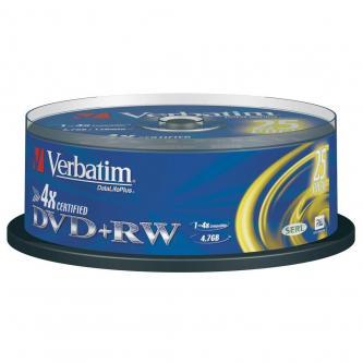 Verbatim DVD+RW, 43489, DataLife PLUS, 25-pack, 4.7GB, 4x, 12cm, General, Standard, cake box, Scratch Resistant, bez možnosti poti