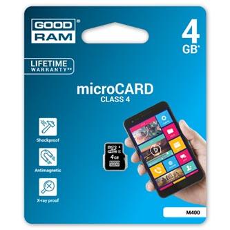 Goodram Micro Secure Digital Card, 4GB, micro SDHC, M400-0040R11, Class 4, bez adaptéru