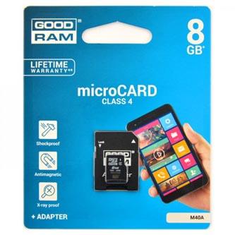 Goodram Micro Secure Digital Card, 8GB, micro SDHC, M40A-0080R11, Class 4, s adaptérem