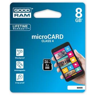 Goodram Micro Secure Digital Card, 8GB, micro SDHC, M400-0080R11, Class 4, bez adaptéru