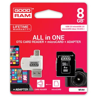 Goodram All-In-ONe, 8GB, multipack, M1A4-0080R11, UHS-I U1 (Class 10), se čtečkou a adaptérem