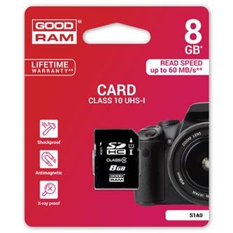 Goodram Secure Digital Card, 8GB, SDHC, S1A0-0080R11, UHS-I U1 (Class 10)