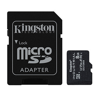 Kingston paměťová karta Industrial C10, 8GB, micro SDHC, SDCIT2/8GB, UHS-I U3 (Class 10), pSLC karta s adaptérem