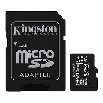 Kingston paměťová karta Canvas Select Plus, 16GB, micro SDHC, SDCS2/16GB, UHS-I U1 (Class 10), s adaptérem, A1