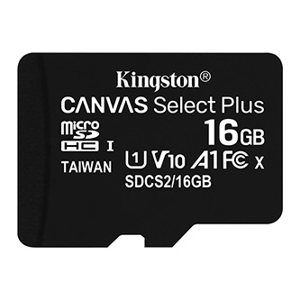 Kingston paměťová karta Canvas Select Plus, 16GB, micro SDHC, SDCS2/16GBSP, UHS-I U1 (Class 10), bez adaptéru, A1