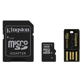 Kingston Mobility Kit G2, 16GB, multipack, MBLY4G2/16GB, Class 4, se čtečkou a adaptérem