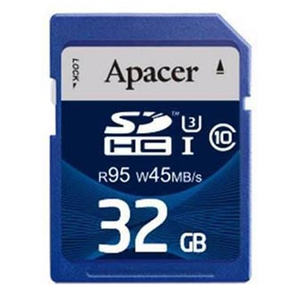 Apacer paměťová karta Secure Digital, 32GB, SDHC, AP32GSDHC10U3-R, UHS-I U3