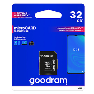 Goodram Micro Secure Digital Card, 32GB, micro SDHC, M1AA-0320R11, UHS-I U1 (Class 10), s adaptérem