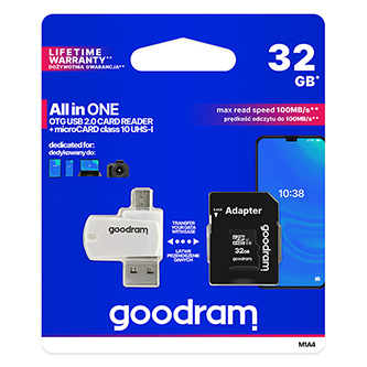 Goodram All-In-ONe, 32GB, multipack, M1A4-0320R11, UHS-I U1 (Class 10), se čtečkou a adaptérem