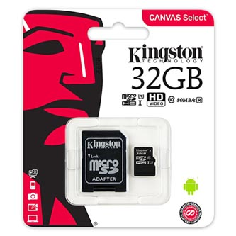 Kingston paměťová karta Canvas Select, 32GB, micro SDHC, SDCS/32GB, UHS-I U1 (Class 10), s adaptérem
