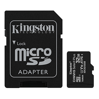 Kingston paměťová karta Canvas Select Plus, 32GB, micro SDHC, SDCS2/32GB, UHS-I U1 (Class 10), s adaptérem, A1