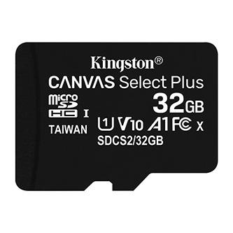 Kingston paměťová karta Canvas Select Plus, 32GB, micro SDHC, SDCS2/32GBSP, UHS-I U1 (Class 10), bez adaptéru, A1