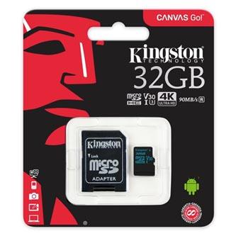 Kingston paměťová karta Canvas Go!, 32GB, micro SDHC, SDCG2/32GB, UHS-I U3, s adaptérem