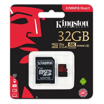 Kingston paměťová karta Canvas React, 32GB, micro SDHC, SDCR/32GB, UHS-I U3, s adaptérem