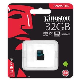 Kingston paměťová karta Canvas Go!, 32GB, micro SDHC, SDCG2/32GBSP, UHS-I U3, bez adaptéru