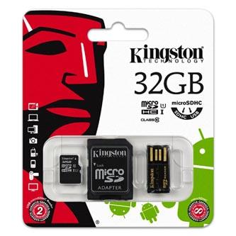 Kingston Micro SDHC Card Class 10 Gen2 - Mobility Kit, 32GB, micro SDHC, MBLY10G2/32GB, UHS-I U1, se čtečkou a adaptérem