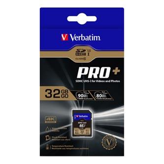 Verbatim paměťová karta SDXC Pro+, 32GB, SDXC, 49196, UHS-I U3