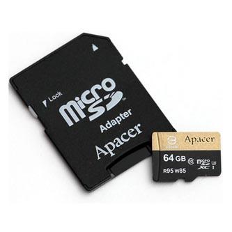 Apacer paměťová karta Secure Digital, 64GB, micro SDXC, AP64GMCSX10U4-R, UHS-I U3, s adaptérem