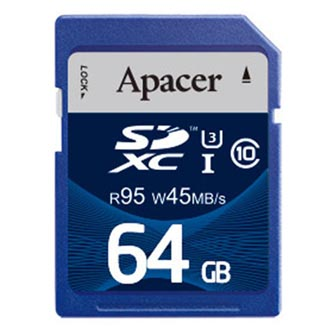 Apacer paměťová karta Secure Digital, 64GB, SDXC, AP64GSDXC10U3-R, UHS-I U3